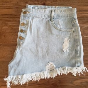 Pants - Light Wash Plus High Rise Distressed Shorts
